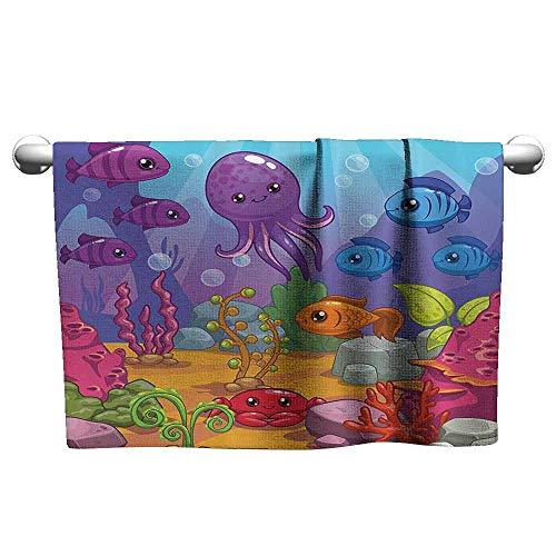 Luxury Hand Towels Whale Decor Collection Underwater World Aquarium Cartoon Octopus Reef Sand Seaweed Stones Bubbles Design Fitness Sheet 27 x 14 inch Purple Blue Orange