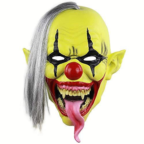 Vivi Do Scary Green Face Evil Clown Latex Mask Halloween Horror Devil Adult Cosplay Costume -