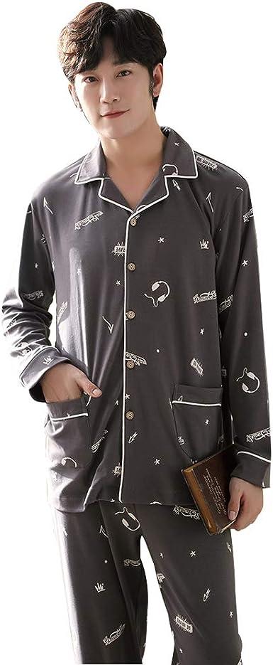 100% algodón Pijama para Hombre de Solapa Manga Larga camisón de ...