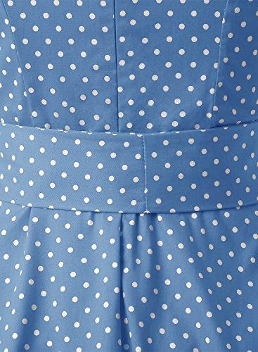 Dressystar DS1956 Women Vintage 1950s Retro Rockabilly Prom Dresses Cap-Sleeve S Sky Blue