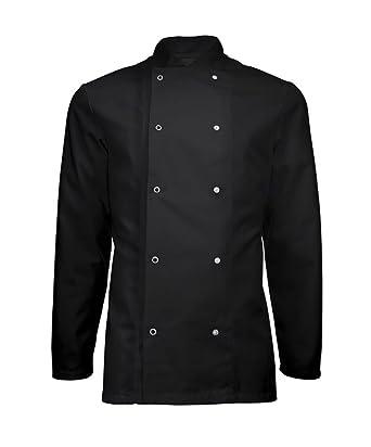 Instex Chaqueta de cocinero, negro banquete abrigo con cierre de presión, restaurante ropa, Unisex, ins16: Amazon.es: Ropa y accesorios