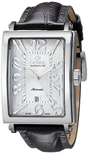 """Gevril Men's 5000A """"Avenue of America"""" Stainless Steel Automatic Watch with Brown Leather Strap"""