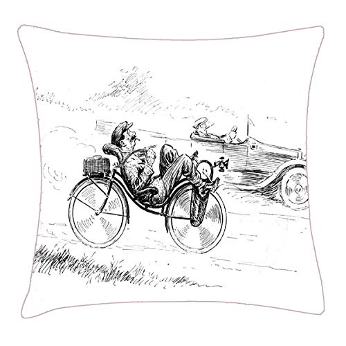 HFYZT Recumbent Bicycle ~ Vintage Bicycling Cycling Pillow Cover Standard Throw Pillowcase 18X18 Inch