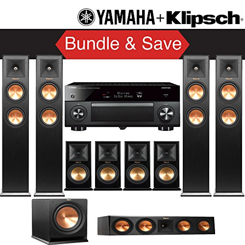Klipsch RP-280F 9.1-Ch Reference Premiere Home Theater System with Yamaha AVENTAGE RX-A2070BL 9.2-Channel Network A/V Receiver by Klipsch