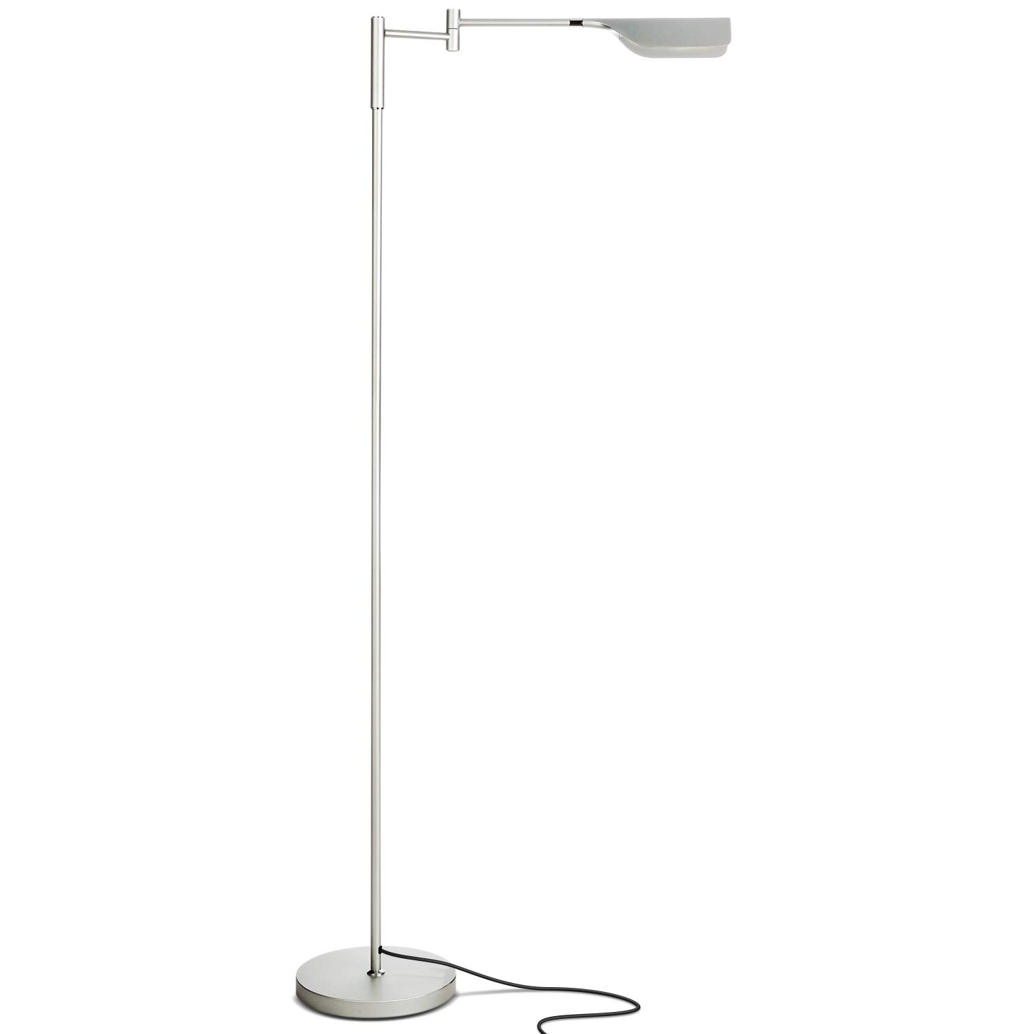 Brightech Leaf - Bright LED Floor Lamp for Reading, Crafts & Precise Tasks - Standing Modern Pharmacy Light for Living Room, Sewing - Great by Office Desks & Tables - Platinum Silver