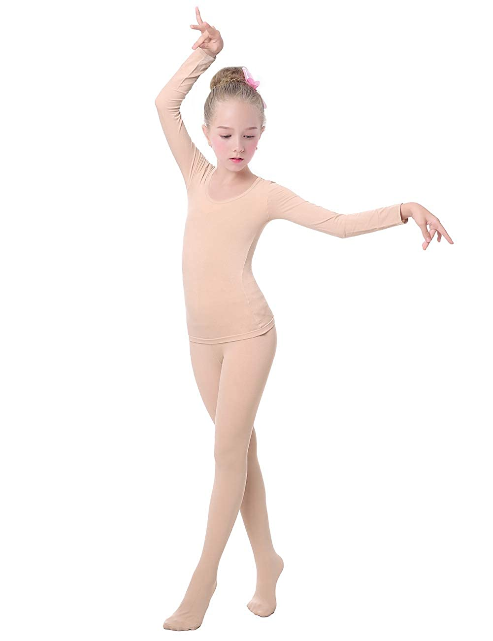 Kids Thermal Underwear Tops & Pants Sets Girls Nude Color Base Layer Suits for Dance
