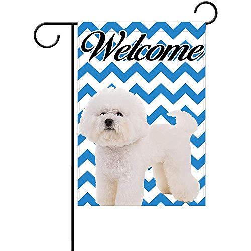 - Bichon Frise Welcome Garden Flag, Custom Holiday Celebrate Garden Decor Flag,12