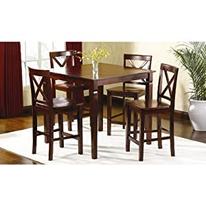 dining table and dining chairs 5 pc mahogany high top table set limited kitchen. Black Bedroom Furniture Sets. Home Design Ideas