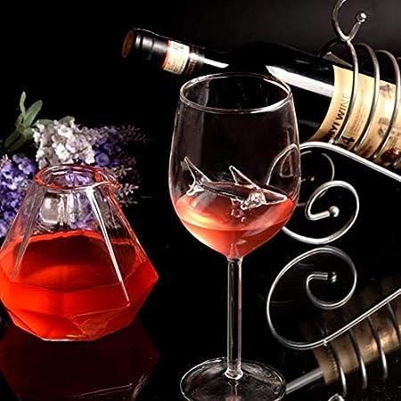 Gelentea Copa de tiburón, copas de vino tinto con tiburón en el interior de la cáliz, vidrio transparente sin plomo, para casa, bar, fiesta, aniversario, boda (8 piezas)