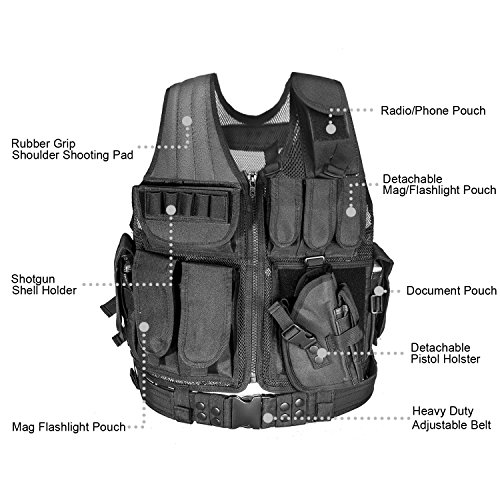 Review CVLIFE Adjustable Hunting Military Molle Style Tactical Vest with 9 Pouches and Pistol Holster (Black)
