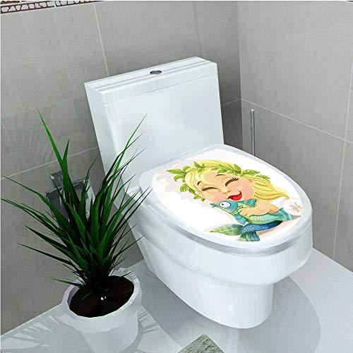 Decoration Bathroom Toilet Cover Sticker Baby Pisces Symbol Holding Fish Nemo Horoscope Collection Venus Little Mermaid Boho Multi W8 x L11