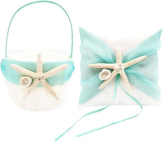 Wedding Party Ceremony Beach Theme Real Starfish /& Sand Dollar Ring Bearer