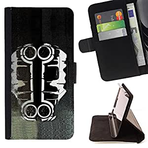 BullDog Case - FOR/HTC One M8 / - / cool car art black white paint /- Monedero de cuero de la PU Llevar cubierta de la caja con el ID Credit Card Slots Flip funda de cuer