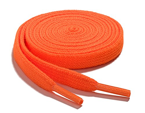 OrthoStep Narrow Flat Athletic 54 inch Neon Orange Shoelaces - High Durability Shoe and Sports Shoelaces 2 Pair - Orange 54