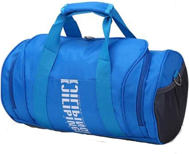 Men and Women Travel Bag Sports Gym Bag Cylinder Basketball Bag Aishanghuayi Sports Bag Color : Sky Blue Black Size: 392222cm Durable