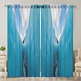 Moslion Window Curtain Nature Frozen Ice Mountains White Blue Window Curtains/Panels for Bedroom/Living Room Satin Drapes Light Reducing 2 Panels 108Wx120L Inch
