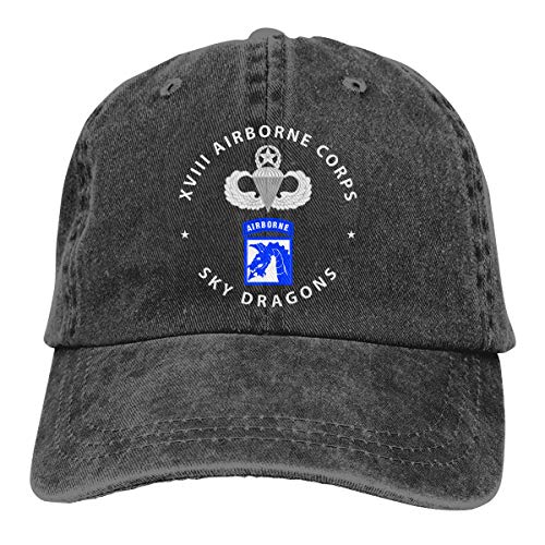SLISL EIEI 18th Airborne Corps Master Parachutist Badge Adjustable Baseball Caps Denim Hats Cowboy Sport Outdoor