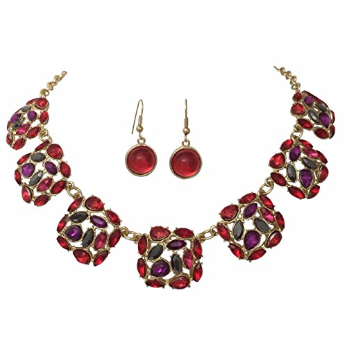 [Multi Color Gem Linked Squares Gold Tone Statement Bib Bubble Necklace Earrings Set (Red)] (Womens Rainbow Bright Costume)