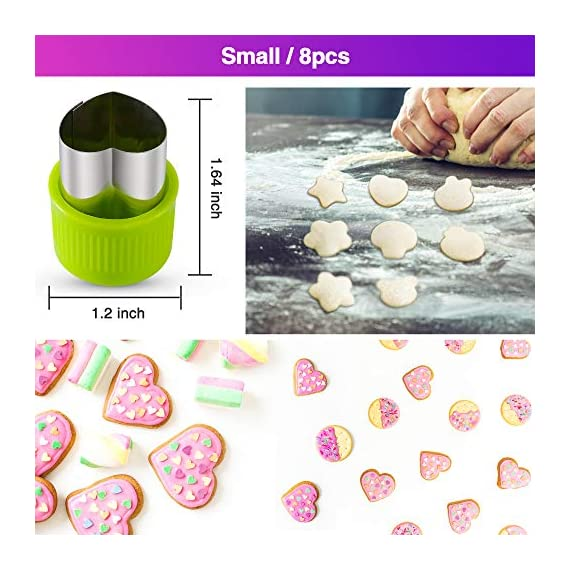 Gimars Large + Small Stainless Steel Cookie & Vegetable & Fruit Cutters Shapes Sets, Mini Cookie Stamp Mold, Sandwich Cutters for Kids Baking, Bento Box and Food Decoration Tools for Kitchen 3 ? 16 PCS 2 Size (8 large : 1.8 in x 2.1 in & 8 small : 1.2 in x 1.65 in.) ¡°One cookie to one kid¡± bite size deep shape mini cookie cutters for choices - The large cookie cutters are perfect to make bite size mini cookie,spritz cookies, decorations for cake, pie crust, gum paste work, craft projects, fondant cutouts,Pastry, mini-tart, etc. The small cookie cutters are great to cut shapes for kids lunch bento box, fruit and vegetable shapes,fruit platter, drinks garnishes etc ? Thicker non rusting stainless steel cookie cutters with fine welding seams to cut food clean without bending or falling apart - Thicker high quality package of food grade stainless steel and plastic silica gel material, not contain BPA. These kids mini cookie cutters are built to last for a long time and does not rust after cleaning. Sturdy and sharp to cut shapes clean with ease. These tiny cookie cutters shapes are very easy to use ? Thicker non rusting stainless steel cookie cutters with fine welding seams to cut food clean without bending or falling apart - Thicker high quality package of food grade stainless steel and plastic silica gel material, not contain BPA. These kids mini cookie cutters are built to last for a long time and does not rust after cleaning. Sturdy and sharp to cut shapes clean with ease. These tiny cookie cutters shapes are very easy to use