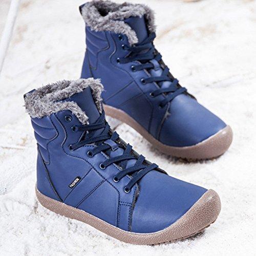 Hiking Winter Blue Waterproof Boot Men's Women's Outdoor Lover Warm Cotton and BERTERI Backpacking Leather Shoe q6zwxqI