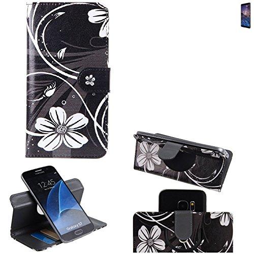 Nokia 7 Plus Cartera Funda Carcasa flores | 360° Wallet Case Protección innovadora de la cámara - K-S-Trade (TM)