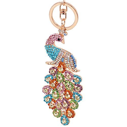 EASYA Animal Keychain Cute Charm Peacock Bling Crystals Rhinestone Handbag Purse Charm Key Chain Keyring Holder,Multicolor