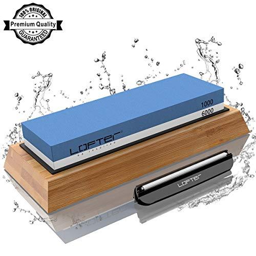 Knife Sharpening Stone, LOFTER Professional Knife Sharpener 1000/6000 2 Side Grit Whetstone, Premium Waterstone Kit with Non-Slip Bamboo Base & Angle Guide, Best Wet Stone Kitchen knife Sharpening Kit (Best Knife Sharpening Stone Kit)