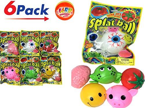 JA-RU Splat Balls (Pack of 6) and 1 Bouncy Ball Item #5303-6p -