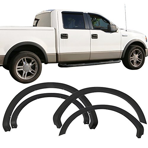Fender Flares Fits 2004-2008 Ford F-150 | OE Factory Style Unpainted Black PP Front Rear Right Left Wheel Cover Protector Vent Trim by IKON MOTORSPORTS ()
