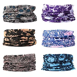 EAZZEA 6pcs Magic Wide Tube Face Mask,Neck Gaiter, Headwear, Sports Scarf, Boho Bandana, Balaclava, Headband