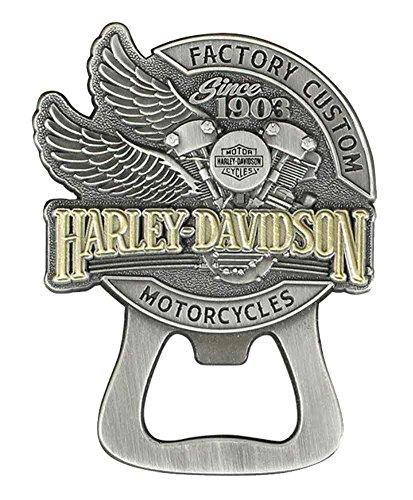 Harley-Davidson Factory Custom Bottle Opener Magnet, Antique Silver DM14223