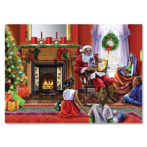 """Health & Personal Care : African American Expressions - Santa's Christmas Story Boxed Christmas Cards (15 cards, 5"""" x 7"""") C-944"""
