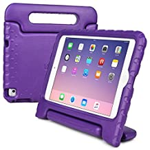 iPad Mini 4 kids case, COOPER DYNAMO Rugged Heavy Duty Children's Boys Girls Tough Rubber Drop Proof Protective Carry Case Cover + Handle, Stand & Screen Protector for Apple iPad Mini 4 Purple
