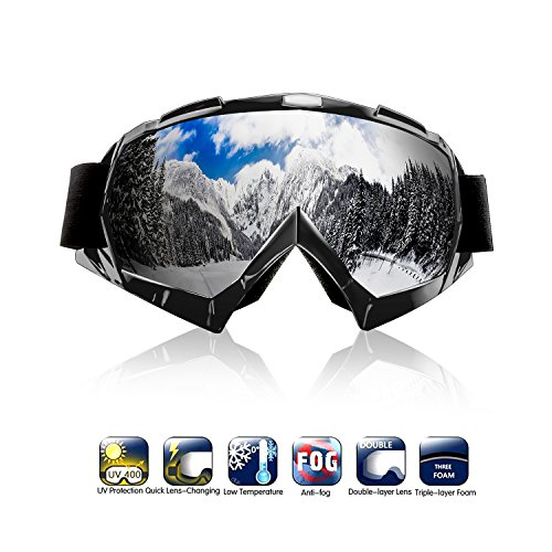 Motorcycle Atv Goggles, Motocross Dirt Bike Ski Goggles Adjustable UV Protective Safety Outdoor Glasses Windproof Scratch Resistant Combat Goggles for Cycling Snow Skiing Eyewear Colorful Lens