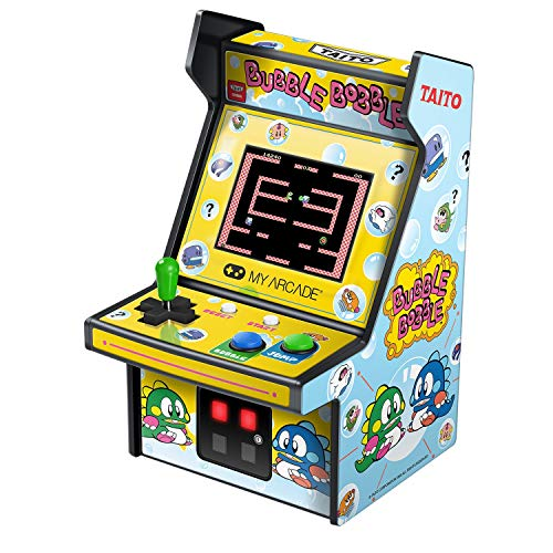 My Arcade Micro Player Mini Arcade Machine: Bubble Bobble Video Game, Fully Playable, 6.75 Inch Collectible, Color Display, Speaker, Volume Buttons, Headphone Jack, Battery or Micro USB Powered