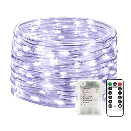 SEMILITS Outdoor String Lights 100LED 33Ft Battery Operated LED Rope Lights with Remote Indoor Timer Fairy Lights for Patio Easter Christmas Party White ()