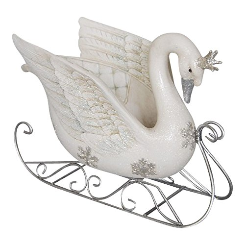 Comfy Hour 9'' Polyresin Swan On Sled Decorative Figurine, White & Silvery by Comfy Hour