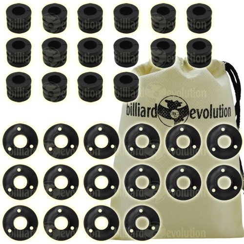 Set of 16 Ridged Rubber Bumpers & 16 Outside Bushings for Foosball Table & Billiard Evolution Drawstring Bag