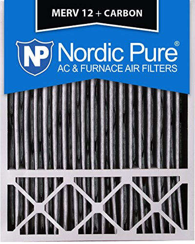 Nordic Pure 20x25x5 (4-3/8 Actual Depth) Lennox X6673_X6675 Replacement MERV 12 Pleated Plus Carbon AC Furnace Air Filter, Box of 2 (Filter Pleated Media)