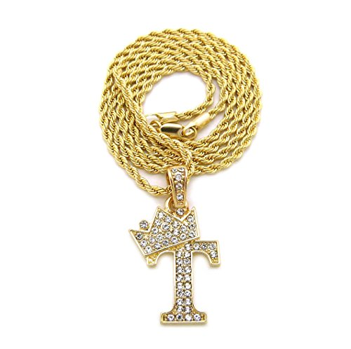 Gold Jewellery Costume Necklace (Unisex Small Size Pave Crown Tilted Initial Alphabet Letter Pendant 2mm 24