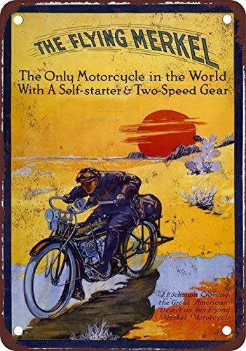 QXSX 1913 The Flying Merkel Motorcycle Vintage Look Reproduction Metal Tin Sign 7.8