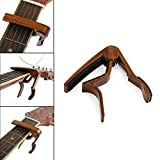 CROSSTREE 6-String Guitar Capo Acoustic & Electric Guitar Capo- No Scratches, No Fret Buzz, Easy to Move Single Handed Quick Change Capo (Red wood color)