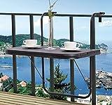 K&A Company Patio Balcony Hanging Adjustable Folding Deck Table 66 lbs Capacity 24' × 24.2' × 26' Black