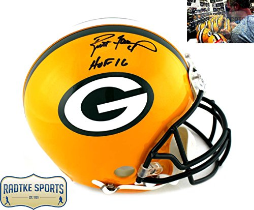 Helmet Favre Brett (Brett Favre Autographed/Signed Green Bay Packers Riddell Authentic Full Size NFL Helmet With
