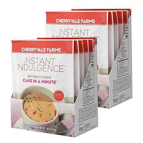 Cherryvale Farms Instant Indulgence Mug Cake Mix, Birthday Cake, Microwave Dessert, Vegan, GMO-Free (12 single serve pouches)