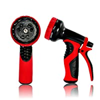 Top Rated Garden Hose Nozzle, Best hose nozzle with 9 settings. Perfect water hose nozzle for garden, washing cars and pets. Auto spray settings, control knob and soft grip handle (Red)