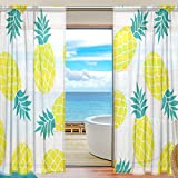 SEULIFE Window Sheer Curtain, Summer Tropical Pineapple Voile Curtain Drapes for Door Kitchen Living Room Bedroom 55x78 inches 2 Panels