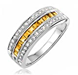 14K Gold Diamond and Gemstone Ring (0.15TDW G-H Color,I1 Clarity) Size 6.5 (citrine)