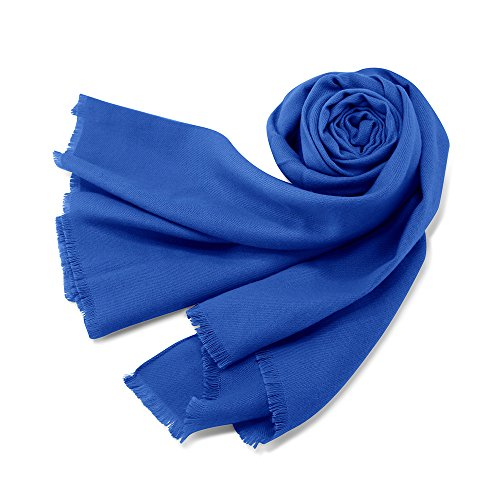 Oct17 Women Large Scarf Soft Cashmere Feel Pashmina warm Shawls Wraps Winter Fall Scarfs Solid Color Light Weight Scarves - Blue - Knit Fringe Scarf