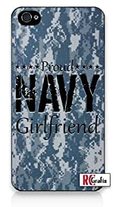 Camouflage Proud Navy Girlfriend Digital Camo Blue iPhone 4 Quality Hard Snap On Case for iPhone 4 4S 4G - AT&T Sprint Verizon - Black Frame by icecream design